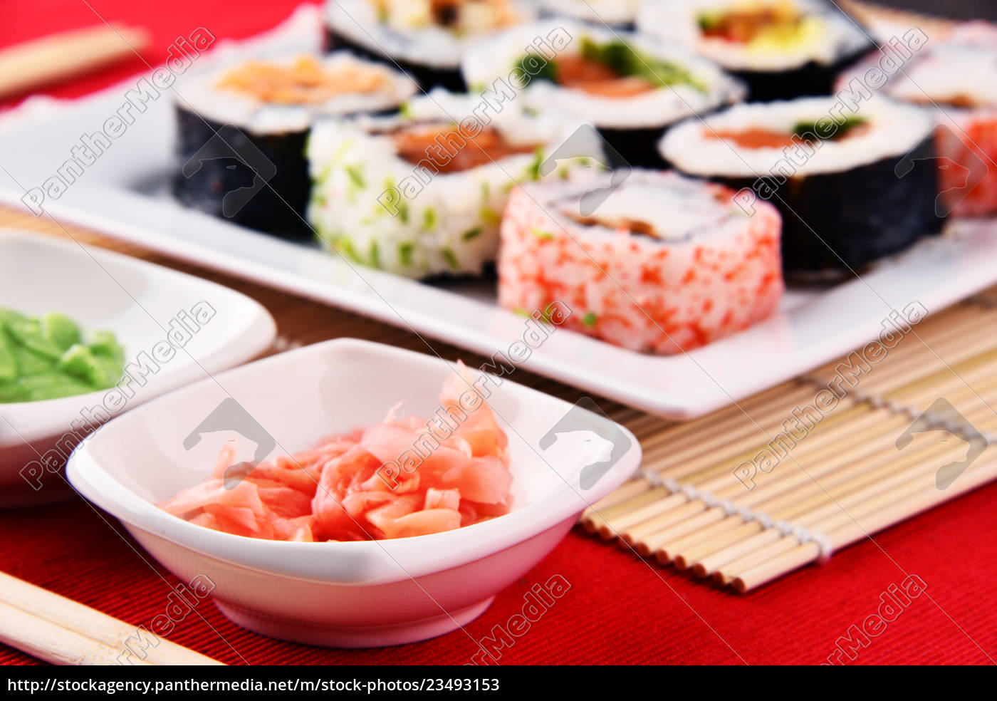 composition, with, assorted, sushi, rolls, and - 23493153