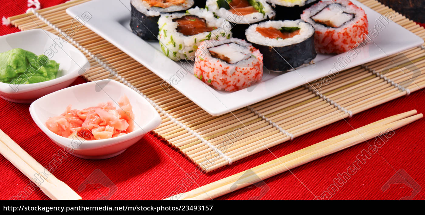 composition, with, assorted, sushi, rolls, and - 23493157