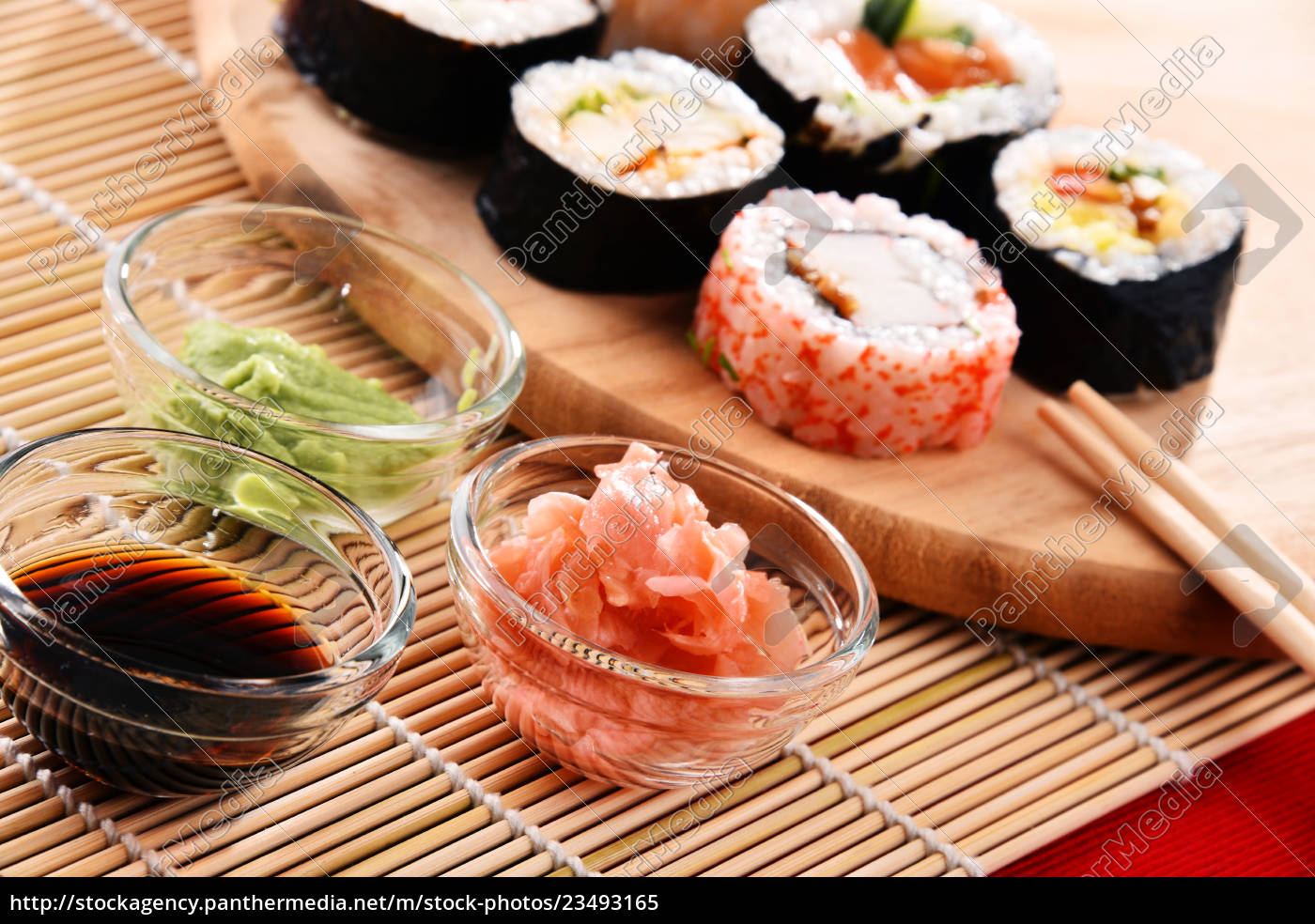 composition, with, assorted, sushi, rolls, and - 23493165