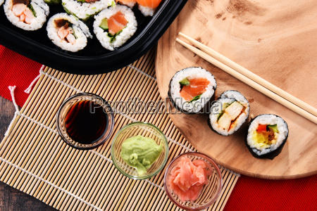 composition, with, assorted, sushi, rolls, and - 23493225