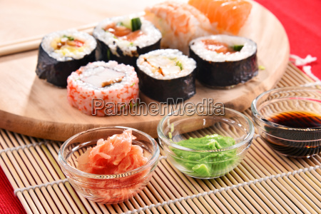 composition, with, assorted, sushi, rolls, and - 23493231