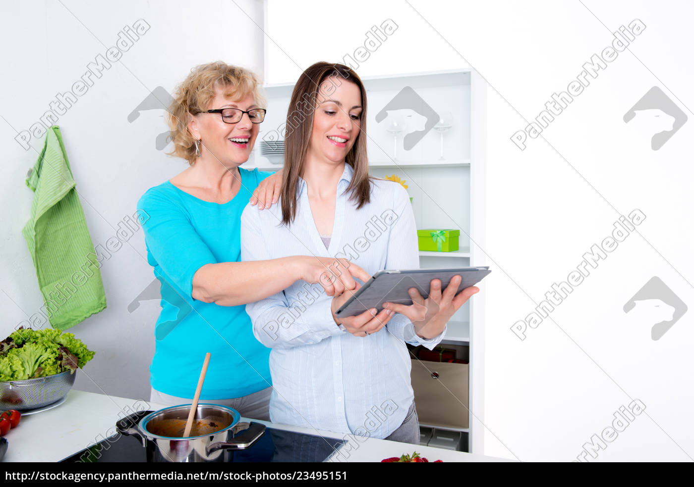 young, woman, and, her, mother, together - 23495151