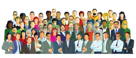 group picture with diverse people illustration