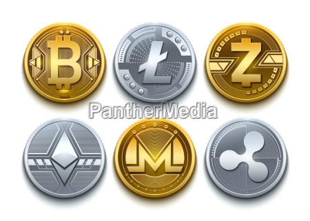 digital vector cryptocurrency set icons bitcoin