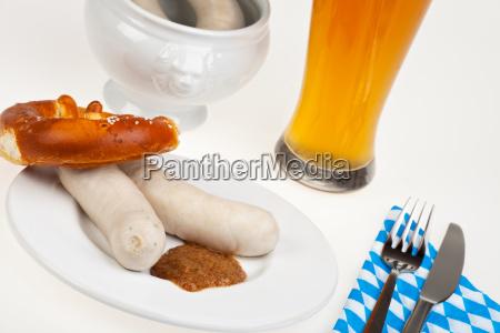 two bavarian white sausages