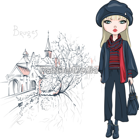 vector, fashion, girl, in, autumn, clothes - 23512198