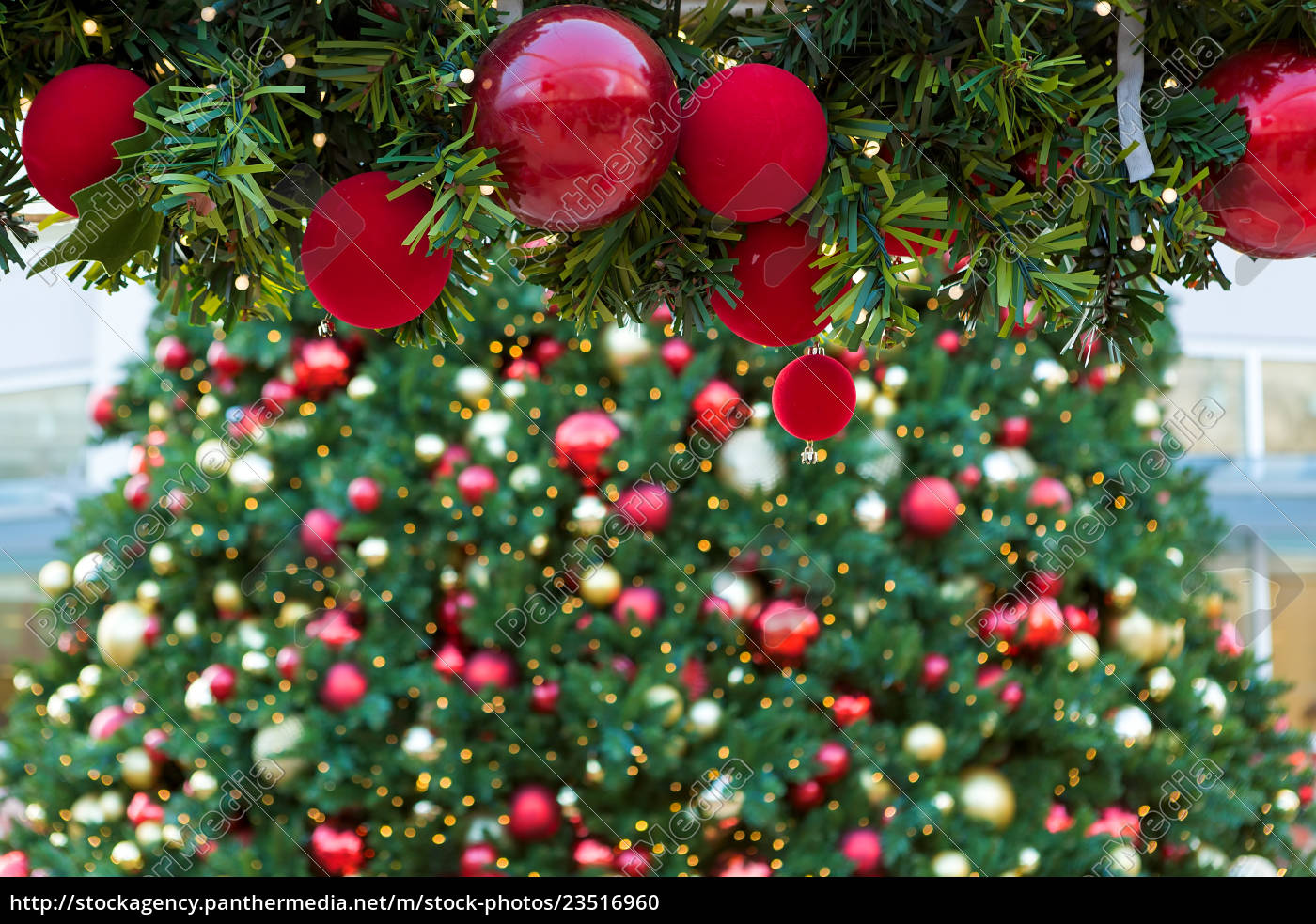 Christmas Tree Garland.Royalty Free Photo 23516960 Christmas Holiday Red Ornaments On Garland