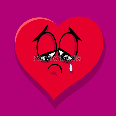 sad broken heart cartoon illustration