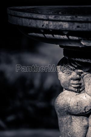 small garden fountain close up