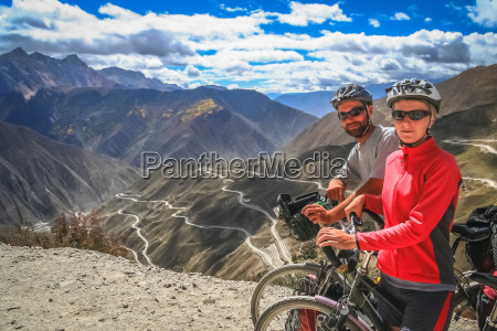 cyclists on top of the mountain
