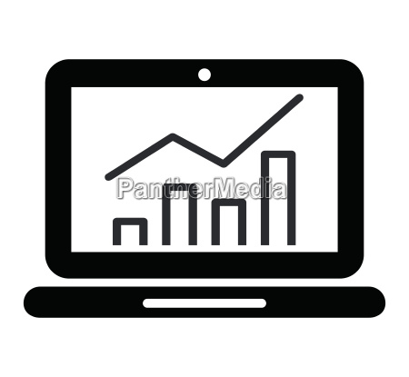 graph on laptop screen icon