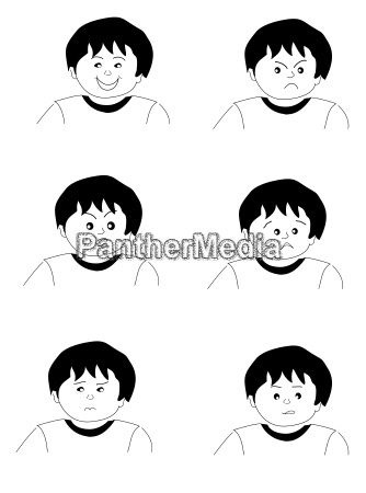 childrens faces in different emotional situations