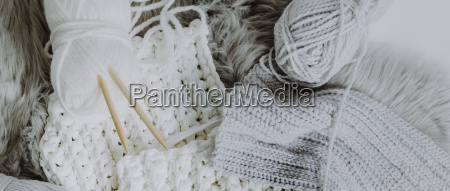 white and grey wool on a