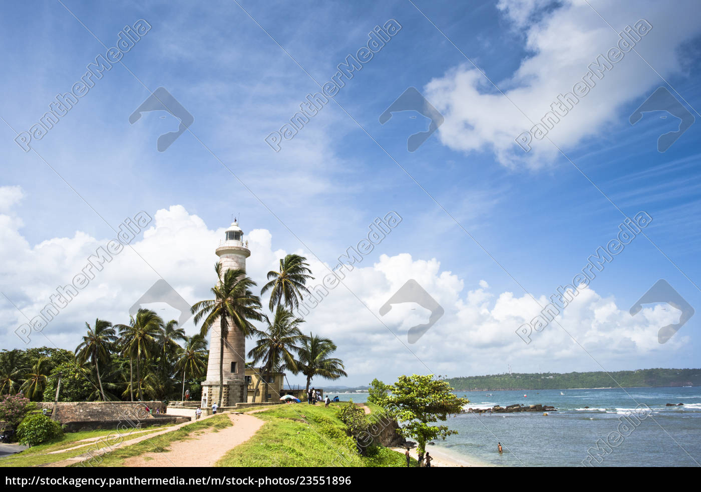 galle, lighthouse, against, clouds, during, sunny - 23551896
