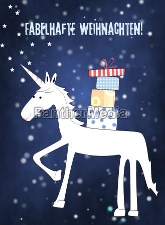 christmas card of unicorn with christman