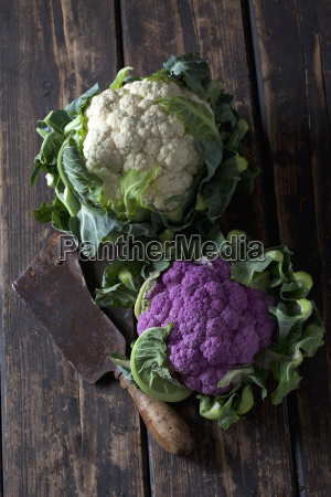 white and purple cauliflower and old