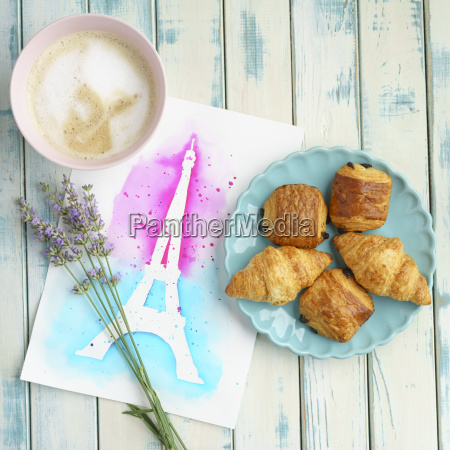 french brekfast with chocolate croissants and