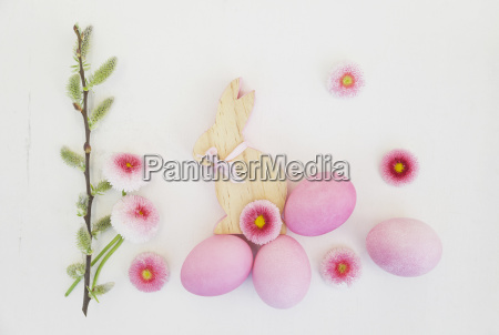 hand dyed pink easter eggs with