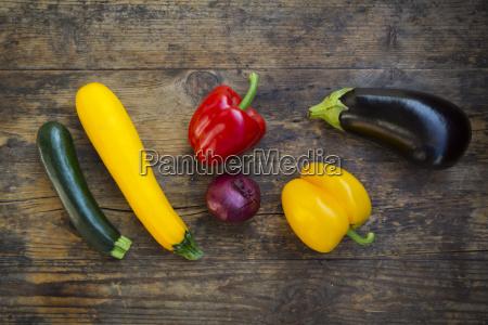 vegetables on dark wood