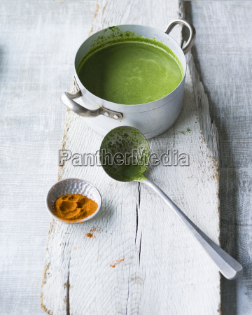 pot of spinach soup and soup