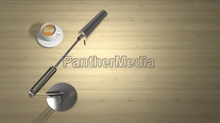 lamp and cup of coffee on