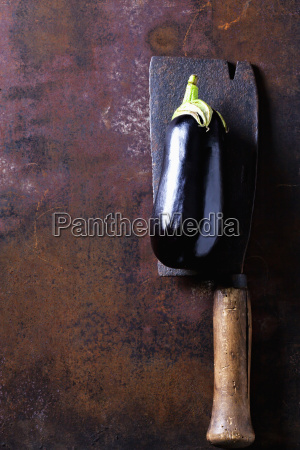 eggplant on old cleaver