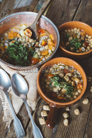 mediterranean soup in copper pot and