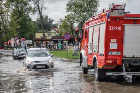 car on a flooded street