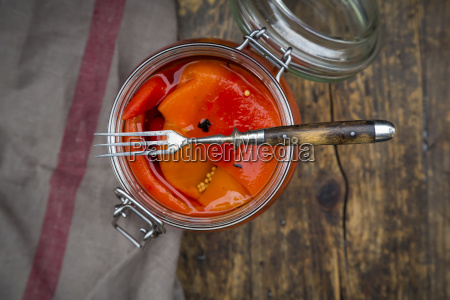 pickled roasted bell pepper open preserving