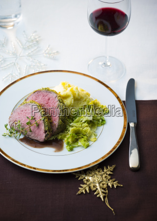 beef fillet with savoy cabbage and