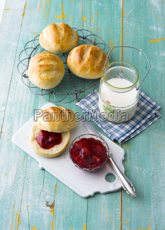 breakfast table with rolls and jam