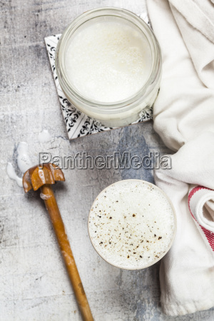 homemade ayran yogurt drink with pepper