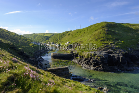 great britain england boscastle harbour wall