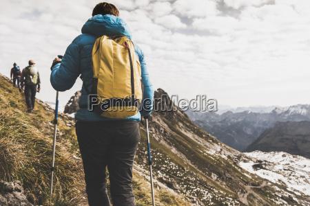 germany bavaria oberstdorf hikers walking in