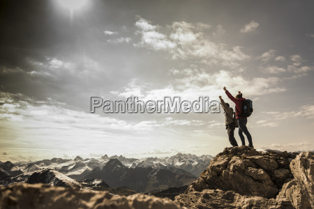 germany bavaria oberstdorf two hikers cheering