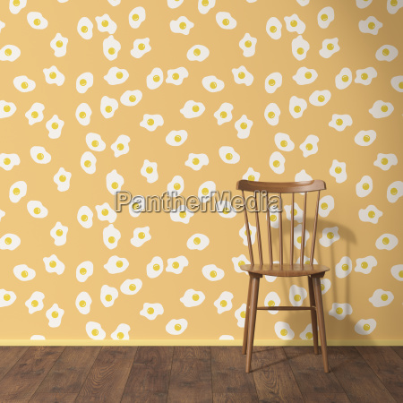 wallpaper with fried egg pattern wood