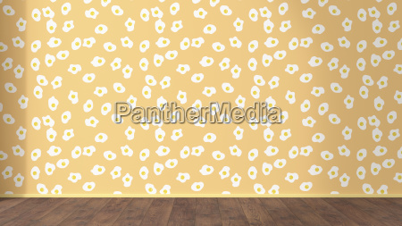 wallpaper with fried egg pattern and