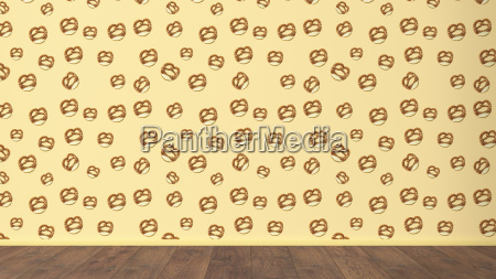 wallpaper with pretzel pattern and wooden