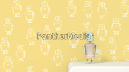 female robot on sideboard in front