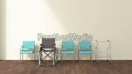 row of wheelchair wheeled walker and