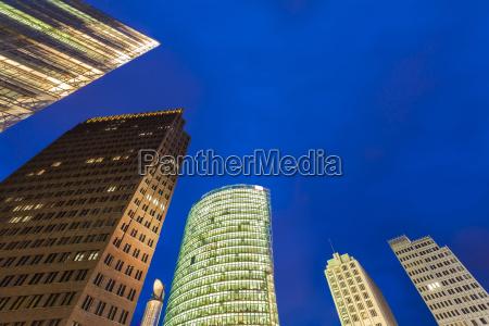 germany berlin potsdamer platz illuminated skyscrapers