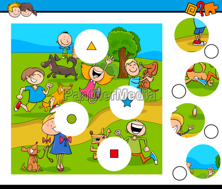 match pieces puzzle with kids and