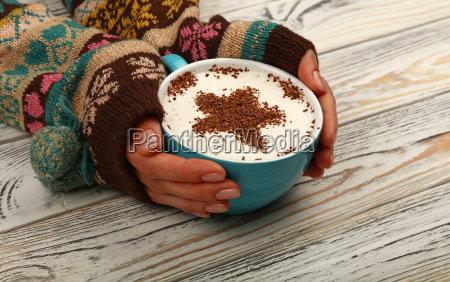 woman, hands, hold, full, latte, cappuccino - 23579874