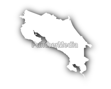 map of costa rica with shadow