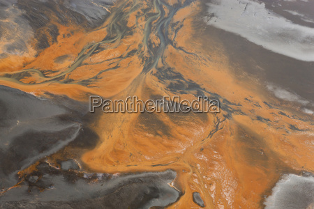 aerial view of river estuary or
