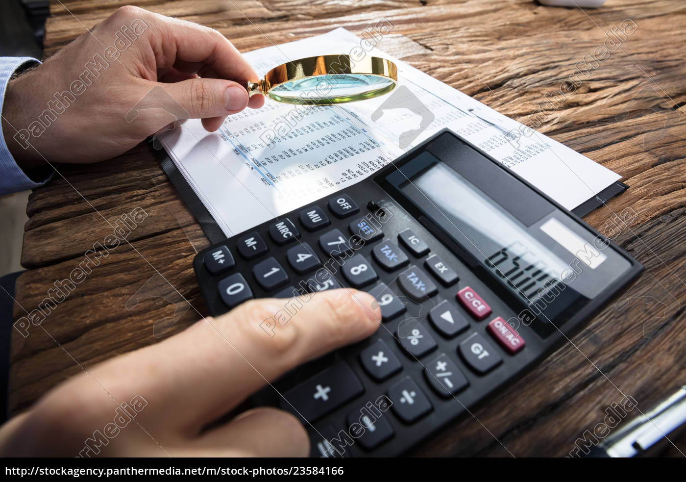 businessman's, hand, calculating, financial, report - 23584166