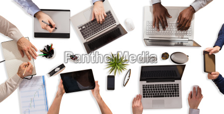 businesspeople, working, on, electronic, devices - 23584556