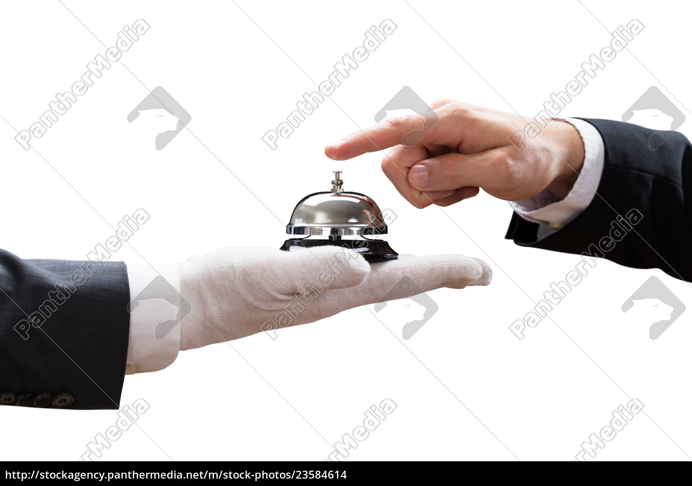 person's, hand, ringing, service, bell, held - 23584614