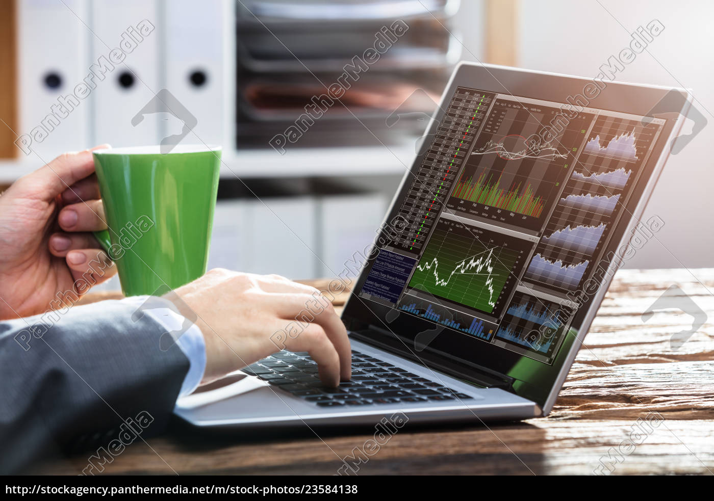 stock, market, broker, working, with, graphs - 23584138