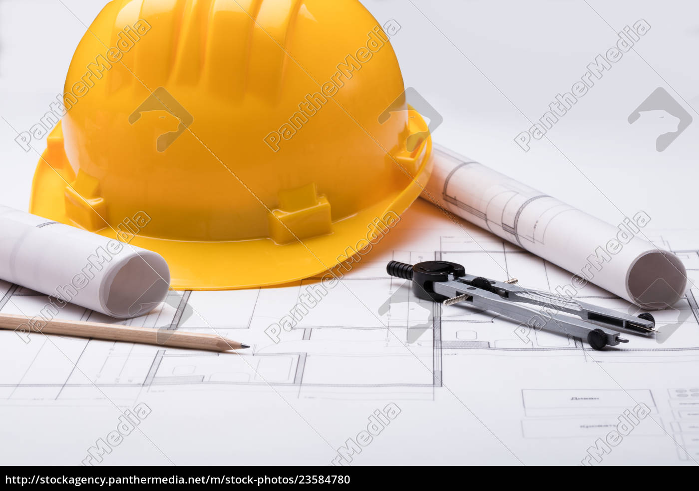 tools, with, hardhat, on, blueprint - 23584780